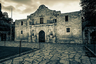 Photograph - Historic Alamo Mission - San Antonio Texas - Vintage Sepia by Gregory Ballos
