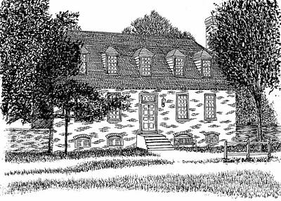 Pen And Ink Historic Buildings Drawings Drawing - Historic And Restored Red Lion Inn, City Of Williamsburg Virginia, Colonial District by Dawn Boyer