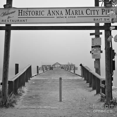Historic Anna Maria City Pier In Fog Infrared 52 Art Print
