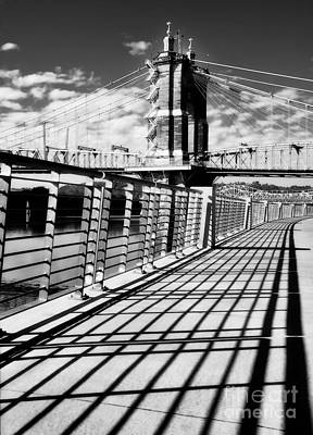 Photograph - Historic Bridge In Cincinnati Black And White by Mel Steinhauer