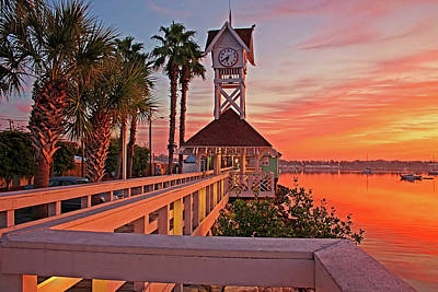 Historic Bridge Photograph - Historic Bridge Street Pier Sunrise by HH Photography of Florida