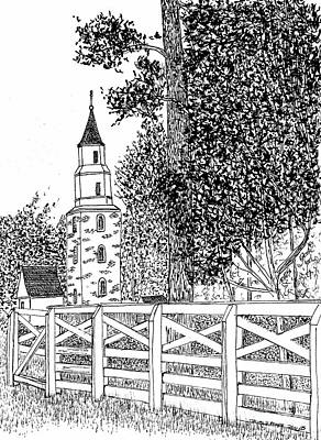 Williamsburg Color Drawing - Historic Bruton Parish Episcopal Church Williamsburg Virginia Reconstructed District by Dawn Boyer