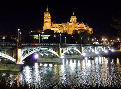 Photograph - Historic City Of Salamanca At Night, Castilla Y Leon, Spain by JR Photography