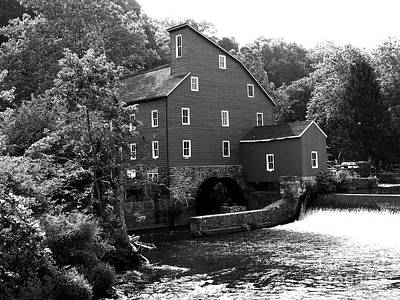 Photograph - Historic Clinton Red Mill - Black/white by Jacqueline M Lewis