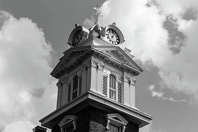 Photograph - Historic Courthouse Steeple In Bw by Doug Camara