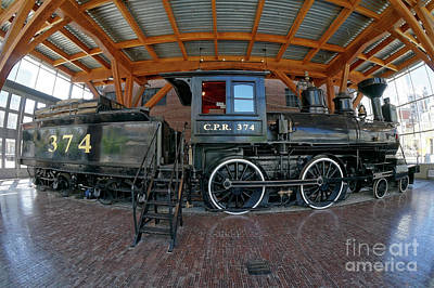 Photograph - Historic Canadian Pacific Railway Engine Fisheye by John  Mitchell