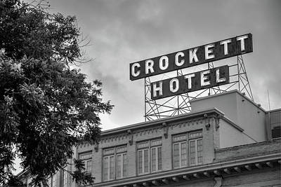 Photograph - Historic Crockett Hotel - San Antonio Texas Black And White by Gregory Ballos