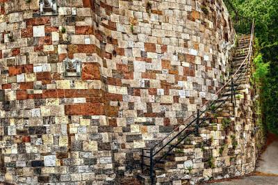 Photograph - Historic Curved Stone Staircase In Savannah  -  Historicriverstreetstairwayorto185927 by Frank J Benz