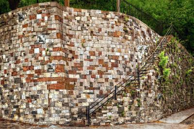Photograph - Historic Curved Stone Staircase Savannah Ga  -  Historicstairsriverstreetorto185925 by Frank J Benz