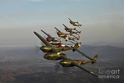 Historic Flight Of Five Lockheed P-38 Art Print