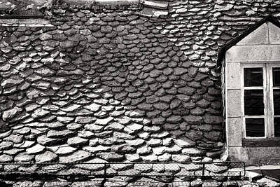 Photograph - Historic French Slate Roof Monochrome Version by Menega Sabidussi