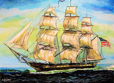 Painting - Historic Frigate United States by Mike Benton