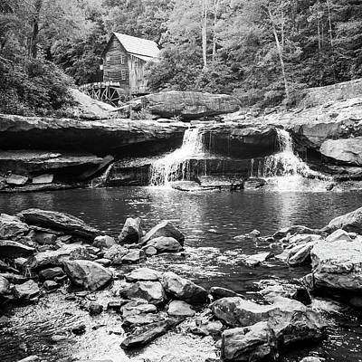 Photograph - Historic Glade Creek Grist Mill Monochrome Landscape - Square Format by Gregory Ballos