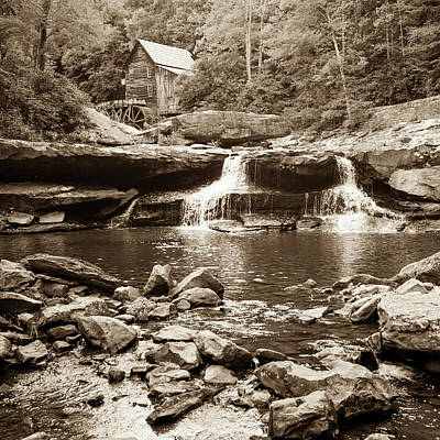 Monochrome Landscapes - Historic Glade Creek Grist Mill Sepia Landscape - Square Format by Gregory Ballos