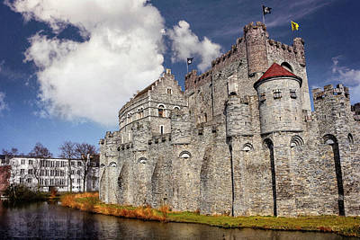 Historic Gravensteen Castle In Ghent  Art Print
