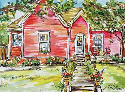Impressionist Landscapes - Historic Home Watercolor Painting by Kim Guthrie