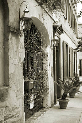 Historic Home Wrought Iron Gate Charleston Sepia Print by Dustin K Ryan
