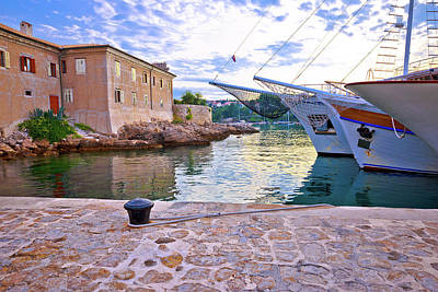 Photograph - Historic Island Town Of Krk Walls And Waterfront Mornng View by Brch Photography