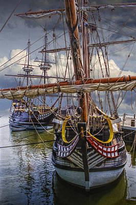 Historic Schooner Photograph - Historic Jamestown Ships by Randall Nyhof