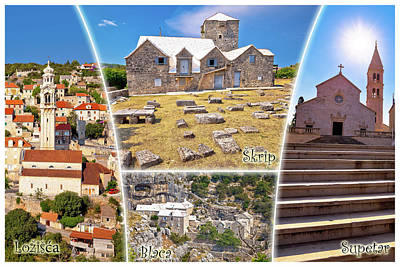 Photograph - Historic Landmarks Of Brac Island Tourist Postcard With Labels by Brch Photography