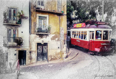Painting - Historic Lisbon Tram by Chris Armytage