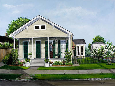 New Orleans House Wall Art - Painting - Historic Louisiana Home And Garden by Elaine Hodges