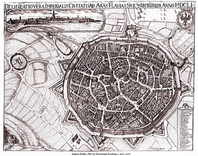 European City Drawing - Historic Map Of Nordlingen, Germany In 1651 by Gary Whitton
