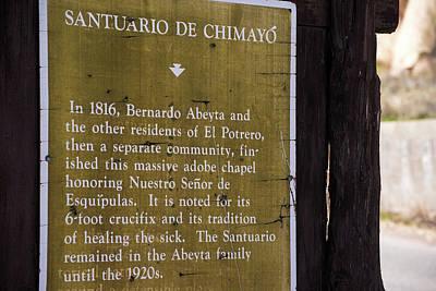 Photograph - Historic Marker For The Santuario by Tom Cochran
