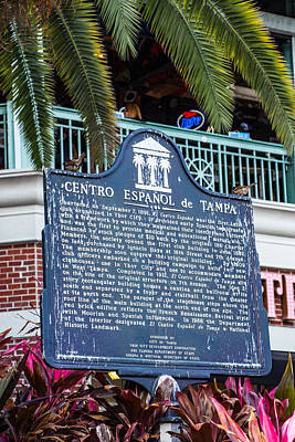 Photograph - Historic Marker Ybor City, Florida by Richard Goldman
