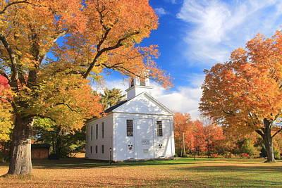 Photograph - Historic New England Meetinghouse And Fall Foliage Ware Massachusetts by John Burk