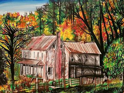 Jesus Laughing Painting - Historic Nickell Homestead  by Shawna Lewellen