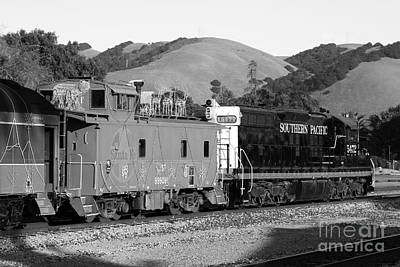 Historic Niles Trains In California . Southern Pacific Locomotive And Sante Fe Caboose.7d10843.bw Art Print by Wingsdomain Art and Photography