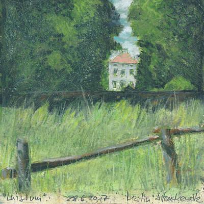 Painting - historic park landscape, Luisium dessau, oil pastel painting by Martin Stankewitz