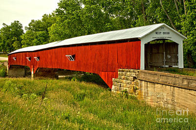 Photograph - Historic Parke County Covered Bridge by Adam Jewell