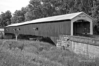 Photograph - Historic Parke County Covered Bridge Black And White by Adam Jewell