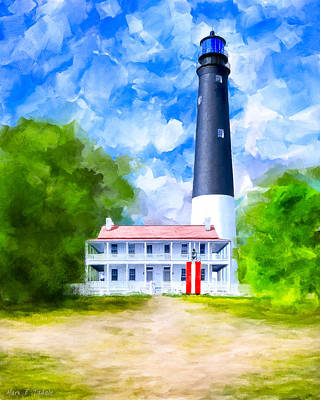 Florida House Mixed Media - Historic Pensacola Light by Mark Tisdale