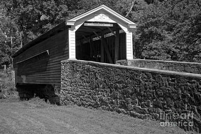 Photograph - Historic Rapps Covered Bridge Black And White by Adam Jewell