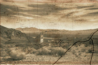 Digital Art - Historic Rhyolite Nevada With Map by Bartz Johnson