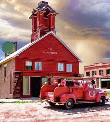 Fire Department Painting - Historic Ridgway Fire Department  by L Wright