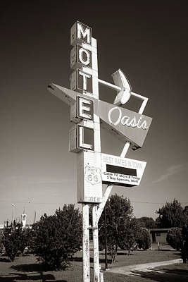 Photograph - Historic Route 66 Googie Neon Sign - Oasis Motel - Tulsa Oklahoma Usa - Sepia by Gregory Ballos
