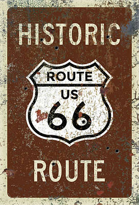 Painting - Historic Route 66 Highway Sign by Christopher Arndt