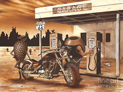 Leather Painting - Historic Route 66 by Michael Godard