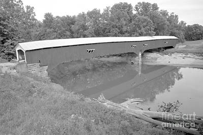 Photograph - Historic Rural Indiana Covered Bridge Black And White by Adam Jewell