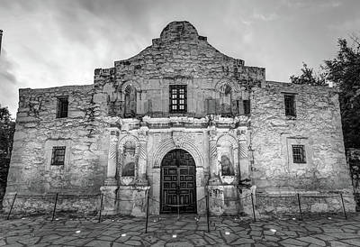 Photograph - Historic San Antonio Alamo Mission - Black And White Edition by Gregory Ballos