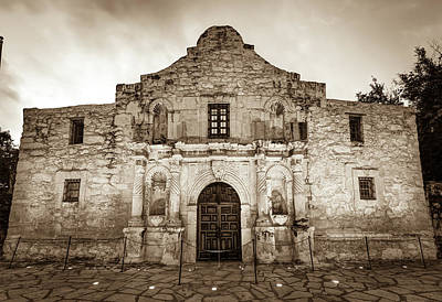 Photograph - Historic San Antonio Alamo Mission - Sepia Edition by Gregory Ballos