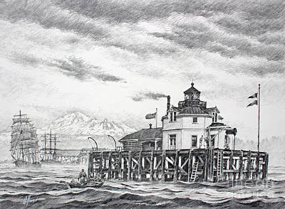 Lighthouse Drawing - Historic Semiahmoo Lighthouse  by James Williamson