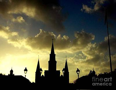 Photograph - St. Louis Cathedral A Historic Silhouette At Jackson Square In New Orleans Louisiana by Michael Hoard