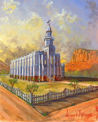 Picket Painting - Historic St. George Temple by Jeff Brimley