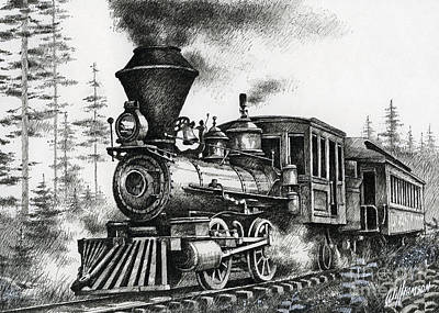 Pen And Ink Drawing Drawing - Historic Steam by James Williamson