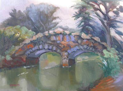 Painting - Historic Stone Footbridge From Path by Suzanne Giuriati-Cerny